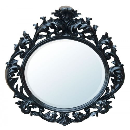 Baroque Black Bevelled Oval Mirror